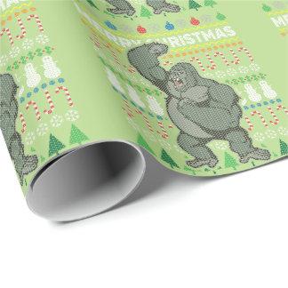 Gorilla-Tier-frohe Weihnacht-hässliche Strickjacke Geschenkpapier