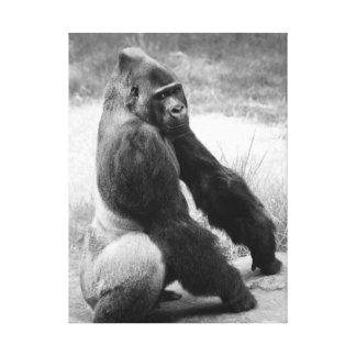 Gorilla-Zoo-Leinwand-Schwarzweiss-Tierporträt Leinwanddruck