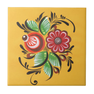 Gorodets Blumen Kleine Quadratische Fliese