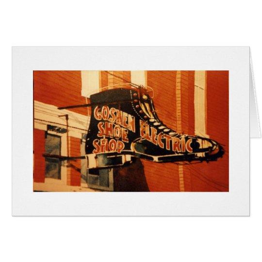 Goshen elektrisches Schuh-Geschäft - eins Grußkarte