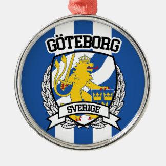 Göteborg Rundes Silberfarbenes Ornament