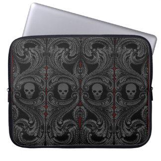 Goth graue Verzierung mit dem Schädel Laptop Sleeve