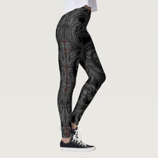 Goth graue Verzierung mit dem Schädel Leggings