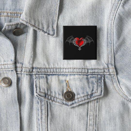 Goth Herz mit Schläger Wings Knopf Quadratischer Button 5,1 Cm