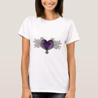 Goth lila Herz mit Engels-Flügeln T-Shirt
