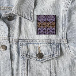 Goth lila Verzierung und Schädel Quadratischer Button 5,1 Cm