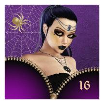 Goth Mädchen-16. Geburtstag-Einladung