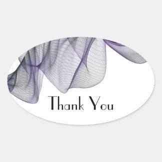 Goth schwarzer u. lila Schleier danken Ihnen Ovaler Aufkleber