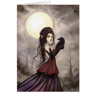 Gotische Fantasie-Hexe und Rabe Wiccan Kunst Karte