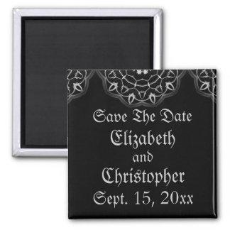 Gotische Hochzeit elegant Save the Date Quadratischer Magnet