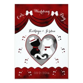 Gotische Katzen-Braut-u. 12,7 X 17,8 Cm Einladungskarte