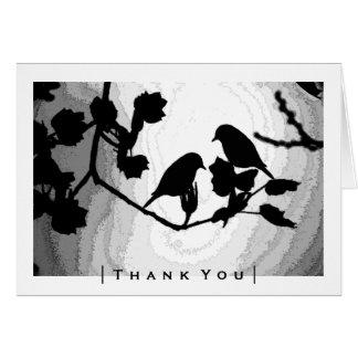 Gotische Liebe-Vogel-Silhouetten danken Ihnen Mitteilungskarte