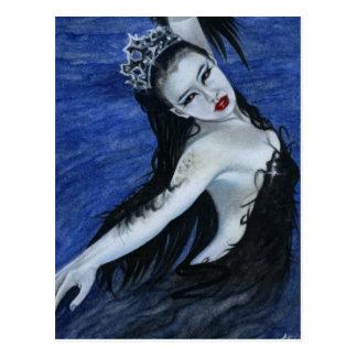 Gotische Postkarte Schönheit des schwarzen Schwans