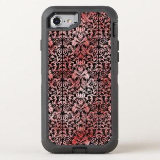 Gotische Rosen-roter schwarzer Damast OtterBox Defender iPhone 7 Hülle