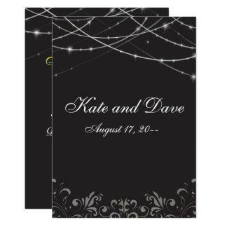 Gotische Schwarz-weiße Schnur beleuchtet Monogramm 12,7 X 17,8 Cm Einladungskarte