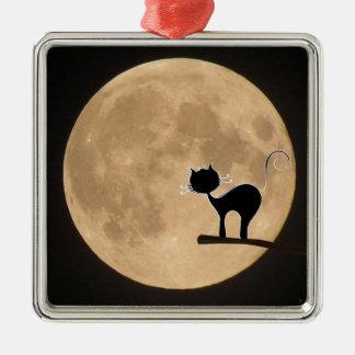 Gotische schwarze Katze Halloweens mit Vollmond Silbernes Ornament