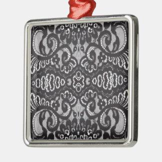 Gotische schwarze mit Blumenspitze Silbernes Ornament