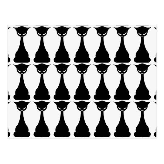Gotische Silhouettepostkarte der schwarzen Katze Postkarte