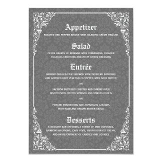 Gotische viktorianische Hochzeits-Menü-Karten 12,7 X 17,8 Cm Einladungskarte