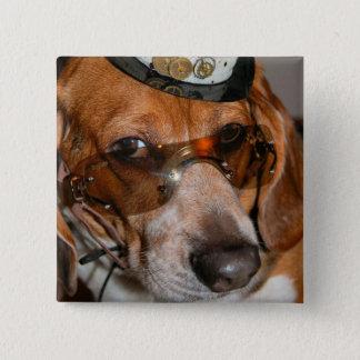 Gotischer Beagle Steampunk Hundknopf Quadratischer Button 5,1 Cm