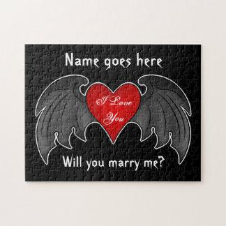 Gotischer dunkelroter winged Herzheiratantrag