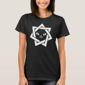 Gotischer Kawaii Katzen-Gesicht Heptagram Stern T-Shirt