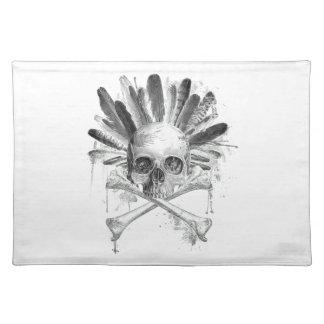 Gotischer Schädel der Stammes- Art - Kreuz Tischset