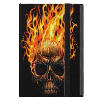 Gotischer Schädel-gelb-orangees Feuer flammt iPad Mini Etui