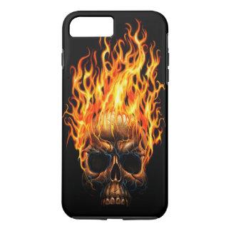 Gotischer Schädel-gelb-orangees Feuer flammt iPhone 8 Plus/7 Plus Hülle