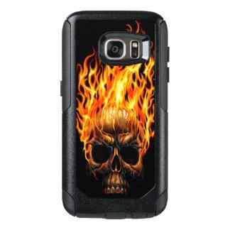 Gotischer Schädel-gelb-orangees Feuer flammt OtterBox Samsung Galaxy S7 Hülle