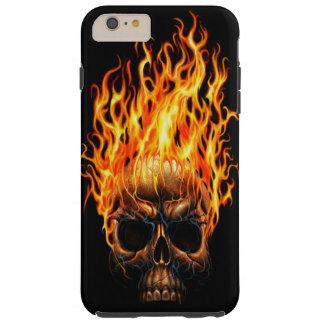 Gotischer Schädel-gelb-orangees Feuer flammt Tough iPhone 6 Plus Hülle