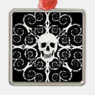 Gotischer Schädel Silbernes Ornament