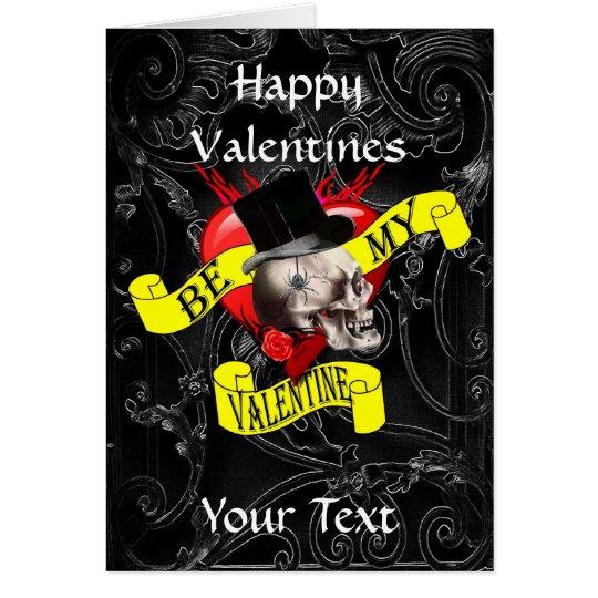 Gotischer steampunk Schädel-Valentinstag Karte