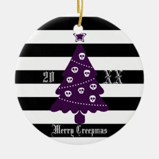 Gotischer Weihnachtsbaum mit Streifen Keramik Ornament