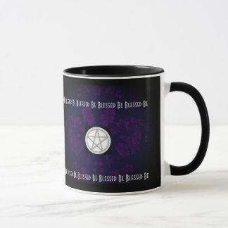 Gotisches Kirschblüten-lila heidnisches Pentagramm Tasse