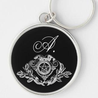 Gotisches Monogramm-Pentagramm Silberfarbener Runder Schlüsselanhänger