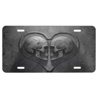 Gotisches Schädel-Herz-Kfz-Kennzeichen US Nummernschild