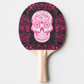 Gotisches Zuckerschädel-Rosa-Schwarz-Klingeln Pong Tischtennis Schläger