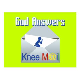 Gott beantwortet Knie-Post-Geschenk-Postkarte Postkarte