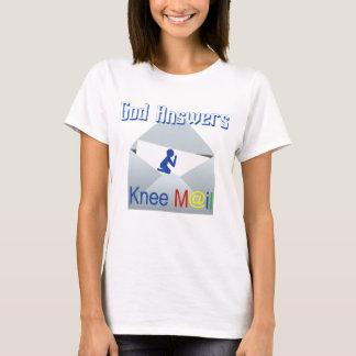 Gott beantwortet Knie-Post-Glauben-T-Stück T-Shirt