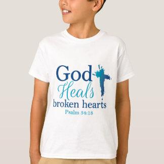 Gott heilt defekte Herzen Psalm-34:18 T-Shirt