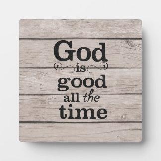 Gott ist gute ständig Plakette mit Gestell Fotoplatte