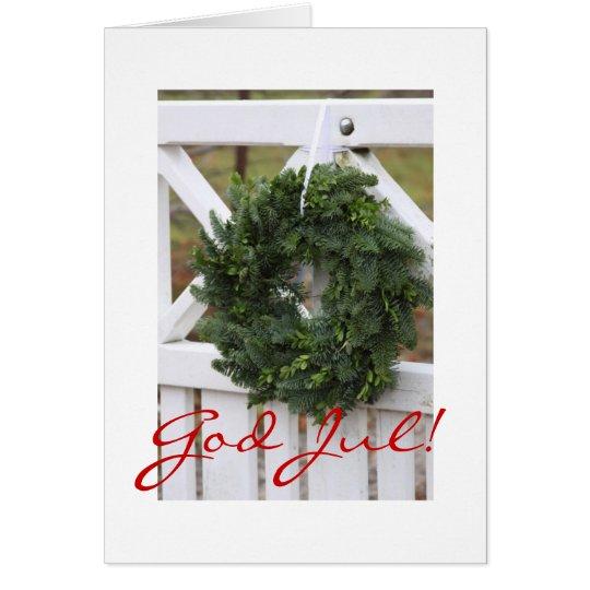 Gott Jul! Schwedische WeihnachtsKranz-Karte Grußkarte