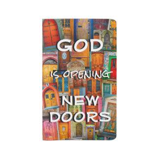 Gott öffnet Tür-buntes einzigartiges Großes Moleskine Notizbuch