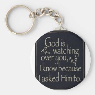 Gott passt über Sie auf Schlüsselanhänger