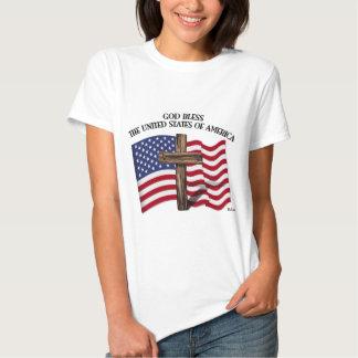 GOTT SEGNEN USA-Quer-US-Flagge Tshirts