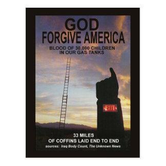 Gott verzeihen Amerika Postkarte