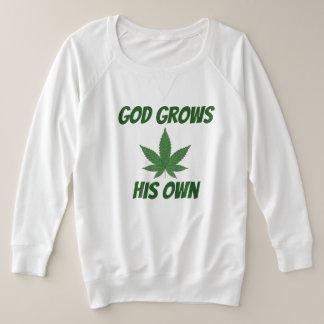 Gott wächst sein eigenes Unkraut Große Größe Sweatshirt