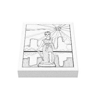 Göttin der Freiheits-Linie Kunst-Entwurf Leinwanddruck