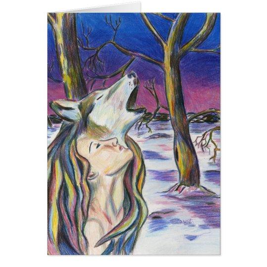 Göttin der Wolf-Karte Grußkarte